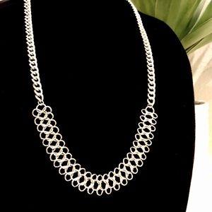 RALPH LAUREN graduated silver interlock necklace